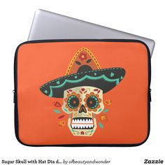 Sugar Skull with Hat Dia de Muertos Laptop Sleeve Custom Laptop, Best Laptops, Personalized Products, Sugar Skull, Laptop Sleeves, Hats, Collection, Best Laptop Computers, Sugar Skulls