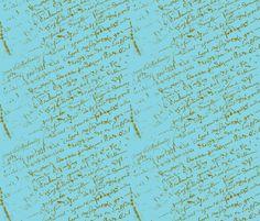 French Script Aqua fabric by karenharveycox on Spoonflower - custom fabric