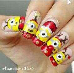 Natal dos minions art, nail, unhas, desenho, unhas de natal, diy