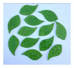 12 Handmade LEAF Tiles. Helpful size, shipping and pricing info.