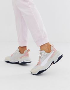 Puma Thunder Rive Gauche trainer at ASOS. Shop this season's must haves with multiple delivery and return options (Ts&Cs apply). Asos, Puma Sneakers, Air Max Sneakers, Adidas Originals Gazelle, Rive Gauche, Nike Huarache, Thunder, Pink White, Nike Air Max