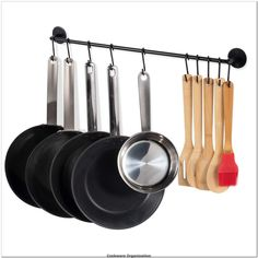 Fasthomegoods Steel Gourmet Kitchen 24 Inch Wall Rail and 10 S Hooks Utensil Pot Pan Lid Rack Storage Organizer Set, Black** Want to know more, click on the image.(It is Amazon affiliate link) #cookwareorganization