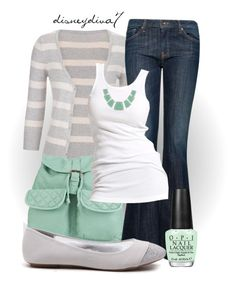 """""""Mint & Stripes"""" by disneydiva7 ❤ liked on Polyvore featuring maurices, T-shirt & Jeans, MANGO, Soaked in Luxury, OPI and Karen Kane"""