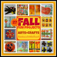 A nice variety of not so typical fall arts + crafts projects for children