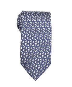 Salvatore Ferragamo marine blue butterfly print silk tie