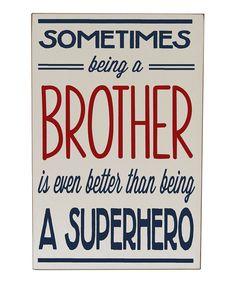 Cream & Navy 'Brother Superhero' Wall Art