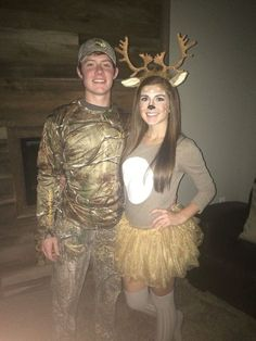 7 Costume Ideas for Adult Couples. A perfect solution to an easy costume for your boyfriend or husband. A deer and it's hunter.