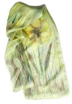 Batik scarf Greenery Minty forest Painted silk Twilight trees painting on silk Silk batik panel Textile Art  Green scarf Silk scarf Freehand