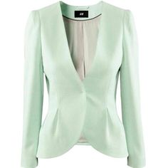 H&M Light Blue/seafoam Pastel Blue Blazer ($35) ❤ liked on Polyvore featuring outerwear, jackets, blazers, blazer jacket, green blazer jacket, h&m blazer, blue jackets and pastel blue jacket