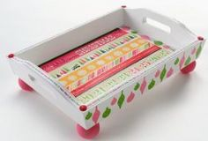 Retro Stripped Christmas Tray By: Holli Long for Plaid's Mod Podge via Favecrafts  - I like this, packed with treats or more personalized; it would make a nice gift.