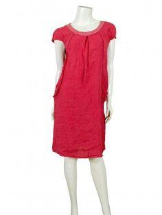 Damen Leinenkleid mit Häkelspitze, rot