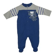NFL Indianapolis Colts Baby / Infant Comfortable Fit One-Piece Footed Long Sleeve Bodysuit / Romper / Onesie – Blue