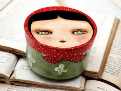 Matryoshka - Original Mixed Media Painting on Jewelry Container Box by Danita Art