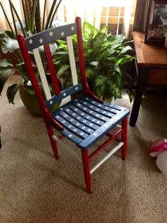Happy 4th of July! I hand painted this recycled chair, my daughter helped paint the stars. Theme Painted Chairs. Dixcie's Painted World