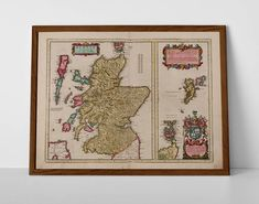 Old Map of Scotland, originally created by Willem Janszoon Blaeu, now available as a 'museum quality' Gift print. Scotland Map, Inverness Scotland, Scottish Gifts, Historical Maps, Antique Maps, Glasgow, Fine Art Paper, Vintage World Maps, Framed Prints