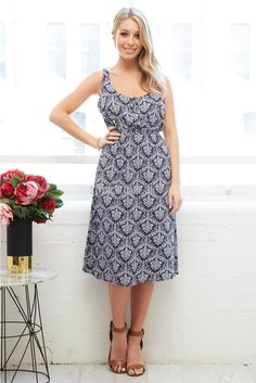 Dolce Mid Length Dress in Navy Baroque | St. Frock