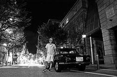 My car Giulia and me on the street in Kobe, Japan.