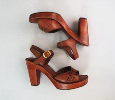 1970s brown leather PLATFORM wooden heel sandals by secret lake