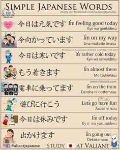 Valiant Language School — Simple Japanese More flash cards on. Basic Japanese Words, Japanese Phrases, Study Japanese, Japanese Kanji, Japanese Culture, Learning Japanese, Japanese Sentences, Japanese Language Lessons, Japanese Quotes