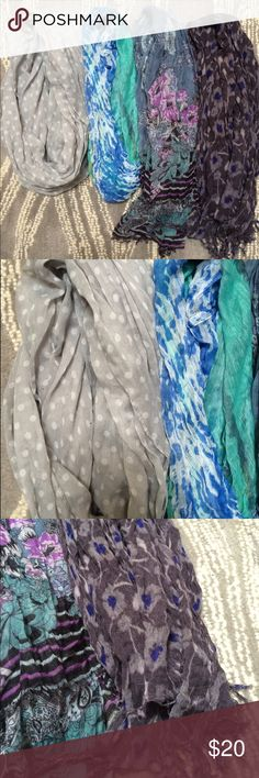 4 scarf bundle! 2 infinity , 2 fringe scarfs! 4 scarf bundle in blues grays, and purples. Two Infinity and two fringe scarves included. Good condition, some frays on the turquoise infinity scarf. Black specks shown on picture is from my camera lens on my phone, not on the actual clothing! Listing includes all four but feel free to send an offer on one or multiple of your choosing. Accessories Scarves & Wraps