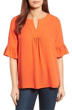 73b559633 Main Image - Pleione Ruffle Sleeve Blouse (Regular   Petite) Blusas Lindas