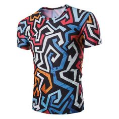 3D Irregularity Geometric Print Round Neck Short Sleeves T-Shirt For Men 9.37 USD