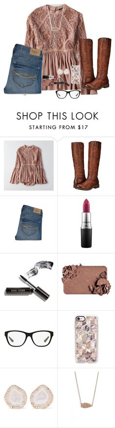 """""""Riding Boots Improve Any Outfit"""" by bowbeauty01 ❤ liked on Polyvore featuring American Eagle Outfitters, Frye, Abercrombie & Fitch, MAC Cosmetics, Bobbi Brown Cosmetics, Too Faced Cosmetics, Ralph Lauren, Casetify, Kimberly McDonald and Kendra Scott"""