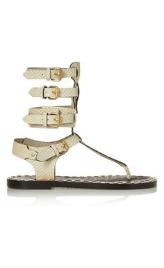 ISABEL MARANT Jeepy studded snake-effect leather sandals - Isabel Marant