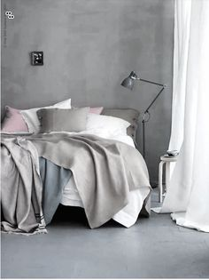 wall colors, pastel, grey walls, grey bedrooms, bedroom linens, white, curtain fabric, textil, shade