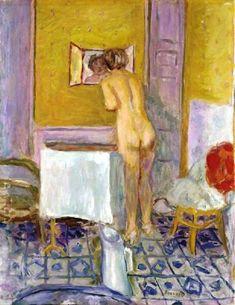 Pierre Bonnard - Nu à l'étoffe rouge (Nu à la toilette), 1915. Oil on canvas,