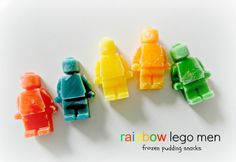 Make some Rainbow Lego Men - Frozen Pudding Snacks - with just instant pudding, coloring, and and ice cube mold