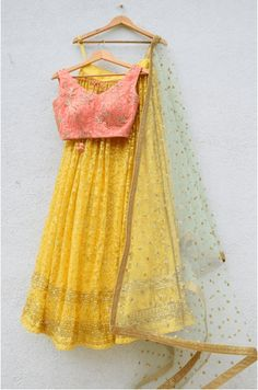 Indian Fashion Dresses, Indian Designer Outfits, Indian Outfits, Indian Gowns, Designer Dresses, Ethnic Outfits, Western Outfits, Western Wear, Yellow Lehenga