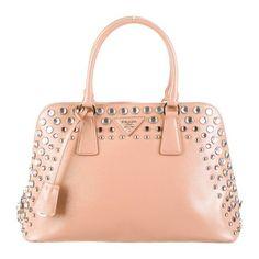 Prada Saffiano Studded Promenade Satchel ($1,690) ❤ liked on Polyvore featuring bags, handbags, pewter purse, prada, prada handbags, studded purse and prada satchel