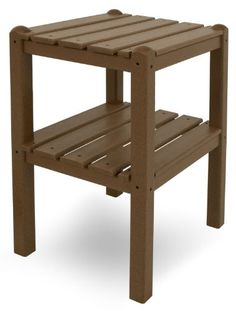 POLYWOOD TWSTTE Two Shelf Side Table Teak *** Locate the offer simply by clicking the VISIT button