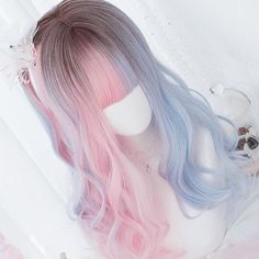 Gradient Color Long Curly Wig With Bangs Pastel Wig, Pastel Purple Hair, Blue Hair, Pink Blue, Pink Wig, Long Wigs, Short Wigs, Frontal Hairstyles, Wig Hairstyles