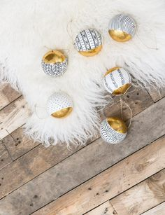 Monochrome and Gold Paper Baubles - Set of 6
