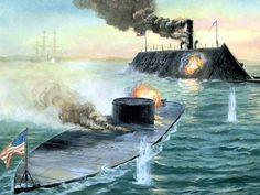 The Time Portals War of when time travel was new and there was conflict over access. Here rival steampunk ironclads fight over access to the dimension. Battle between USS Monitor and CSS Virginia Naval History, Military History, Military Art, Uss Monitor, Civil War Art, Confederate States Of America, Ship Paintings, Civil War Photos, American Civil War