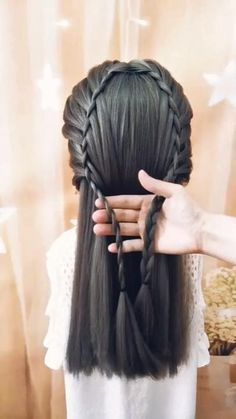 Hairdo For Long Hair, Easy Hairstyles For Long Hair, Braided Hairstyles, Step Hairstyle, Hairstyle Tutorials, Front Hair Styles, Medium Hair Styles, Hair Style Vedio, Hair Tutorials For Medium Hair