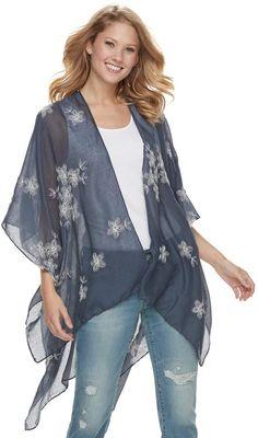 ee1ae73618 Sonoma Goods For Life Women's SONOMA Goods for Life Embroidered Floral  Kimono Floral Kimono, Kimono
