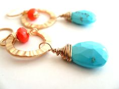 Sleeping Beauty Turquoise Earrings Coral and Blue Gold by Vitrine.etsy.com