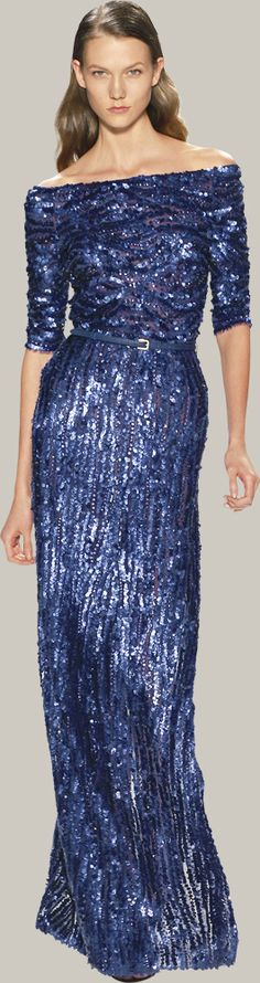 Blue sparkly wow gown. Karlie Kloss for Elie Saab.