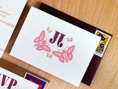 Oh So Beautiful Paper: Jessica + Joe's Modern Butterfly Wedding Invitations