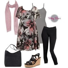 Set 484: Black Floral Tunic (bag & shoes sold separate)
