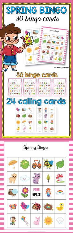 $4 - Spring Bingo Game - March Bingo Spring activity for preschool,  kindergarten and  first grade kids.