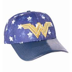OFFICIAL DC COMICS - WONDER WOMAN SYMBOL STARS PATTERN PRINT STRAPBACK BASEBALL CAP - Spike Dabomb