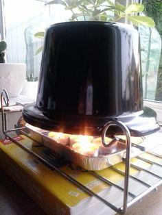 """3 to 5 tea lights under a slow cooker (crockpot) pot. Throws out masses of heat. Better than #plantpotheater."""