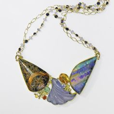 """The Kalled Gallery — Boulder Opal Necklace with Chalcedony """"Butterflies are Free"""" Opal Necklace, Opal Jewelry, Glass Jewelry, Beaded Necklace, Drop Earrings, Necklaces, Jewellery, 18k Gold Chain, Gold Chains"""