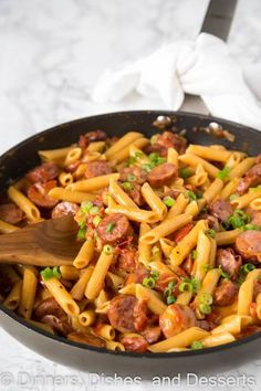 French Delicacies Essentials - Some Uncomplicated Strategies For Newbies One Pan Cheesy Sausage Pasta - Get Dinner On The Table With These Easy Pasta Recipe. Only One Pan, 20 Minutes, And You Are Done Cheesy Sausage Pasta, Sausage Pasta Recipes, Pasta Dinner Recipes, Pasta Dinners, Easy Pasta Recipes, Quick Dinner Recipes, Meat Recipes, Easy Meals, Cooking Recipes