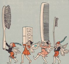 """The cleanliness fairies    Illustrated by Marguerite Davis. """"Summer Fun"""" by J. Mace Andress and Annie Turner Andress, with the assistance of Julia E. Dickson. Part of the Story Series in Health by Ginn and Company. Copyright 1932 by Andress and Andress."""