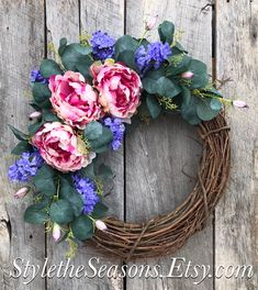 Excited to share the latest addition to my #etsy shop: Spring Wreaths for Front Door, Spring Wreath, Peony Wreaths for Front Door, Eucalyptus Wreath, Spring Door Wreath, Wreaths for Front Door